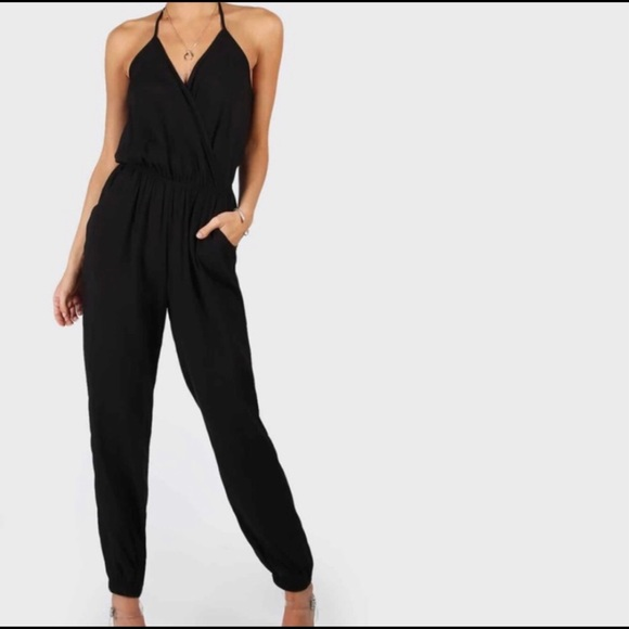 SHEIN Black Halter Jumpsuit With Pockets Size LG